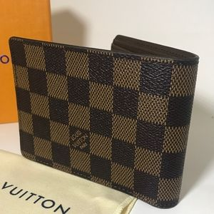 LouisVuitton Brown Ebene Leather Wallet(Authentic)
